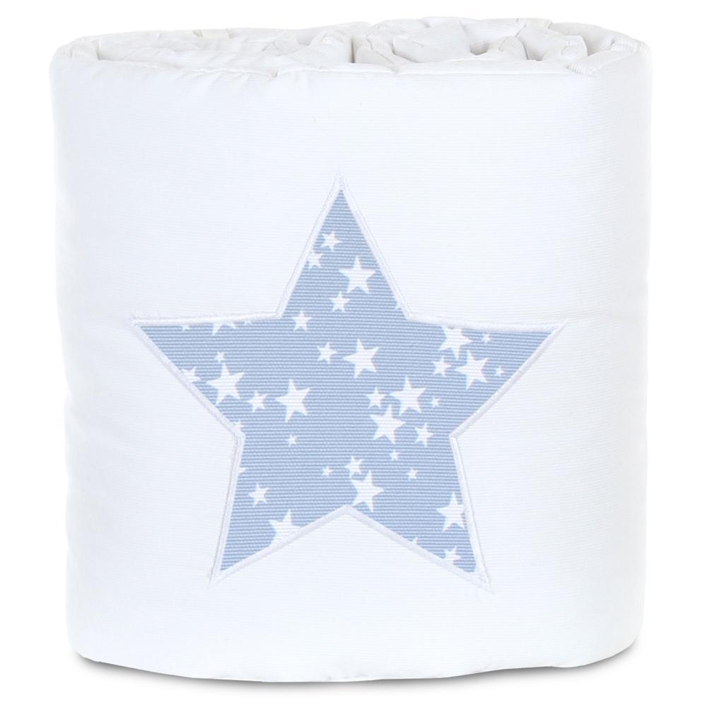 babybay Nestchen Weiß Sterne Azurblau