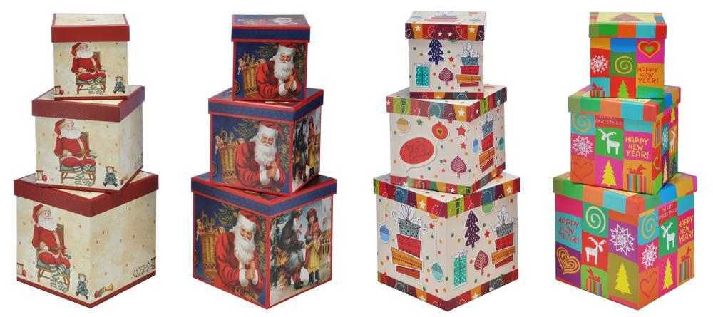 Geschenkboxen eckig 3 Stk.