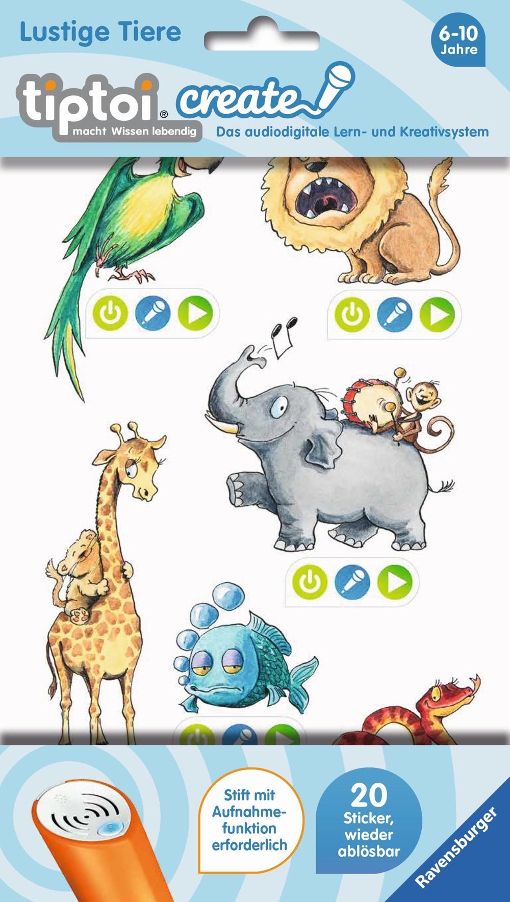 Ravensburger tiptoi CREATE Sticker Lustige Tiere
