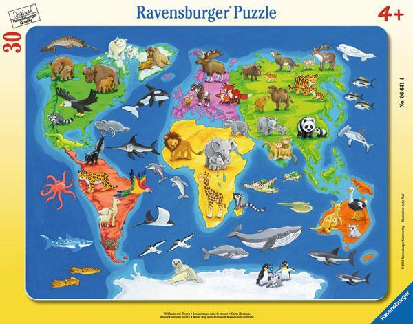 Ravensburger Puzzle Weltkarte mit Tieren