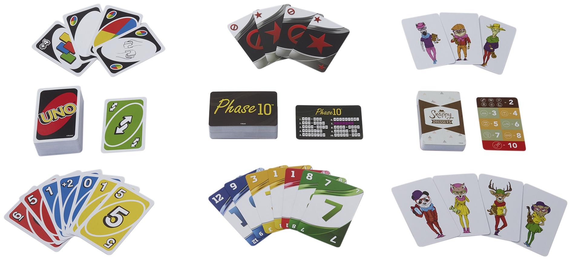 3 in 1 Metallbox: UNO, Phase10 und Snappy Dressers