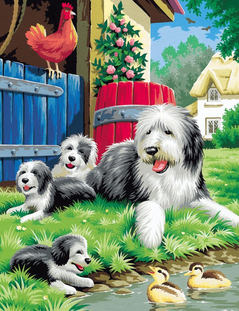 Malen nach Zahlen Classic Hundefamilie