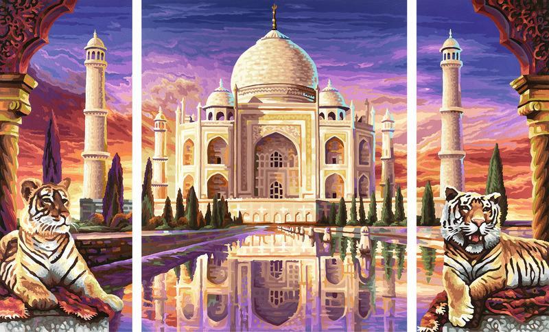 Malen nach Zahlen Triptychon Taj Malhal